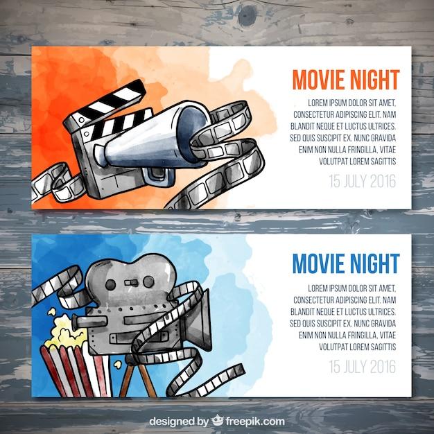 Billets de cinéma aquarelle mis Vecteur gratuit
