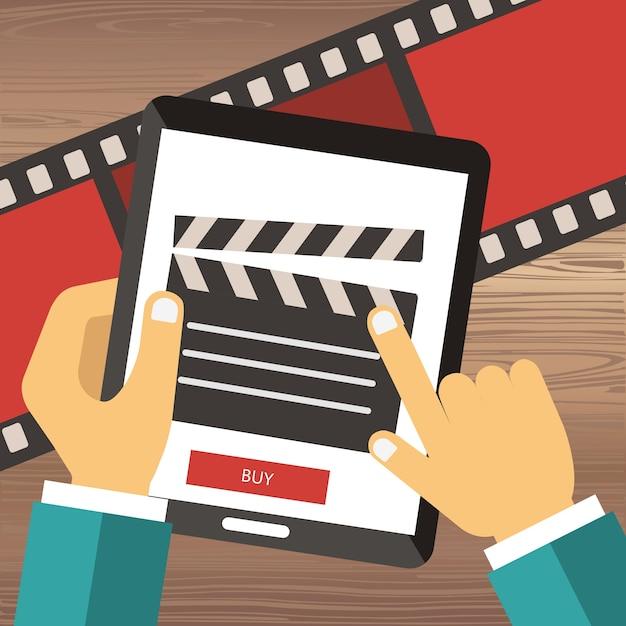 Billets de cinéma de cinéma en ligne Vecteur gratuit