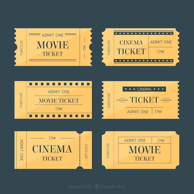 Billets de cinéma dans le style rétro Vecteur gratuit