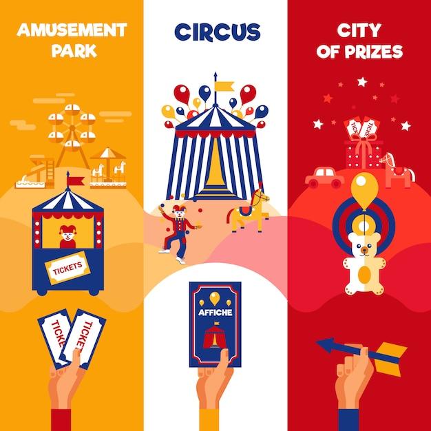 Billets de cirque du parc d'attractions 3 bannières verticales Vecteur gratuit