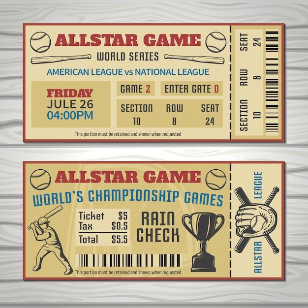 Billets De Compétitions De Baseball Avec Tenue De Sport Du Joueur Et Code-barres Du Trophée Vecteur gratuit