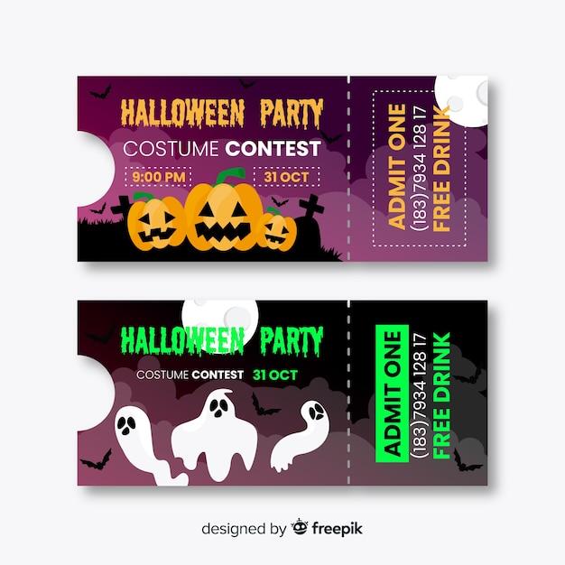 Billets design halloween Vecteur gratuit