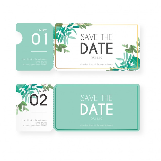 Billets floraux pour invitation de mariage Vecteur gratuit