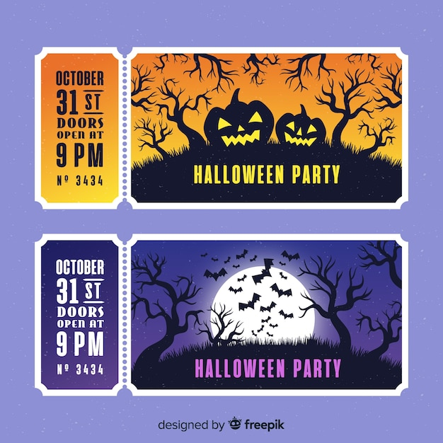 Billets de forêt halloween dessinés à la main Vecteur gratuit
