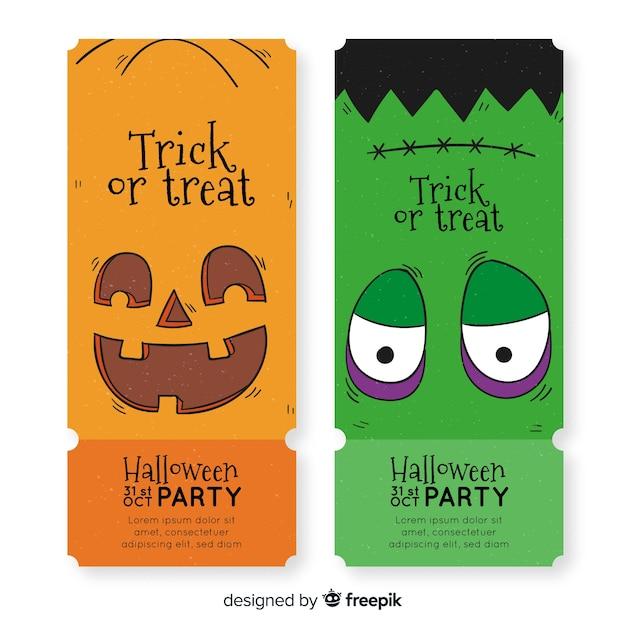 Billets d'halloween dessinés à la main avec citrouille et frankenstein Vecteur gratuit