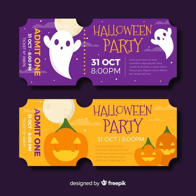 Billets d'halloween plats avec des fantômes et de la citrouille Vecteur gratuit