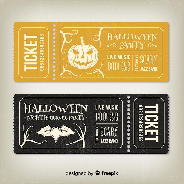 Billets d'halloween vintage dorés et noirs Vecteur gratuit