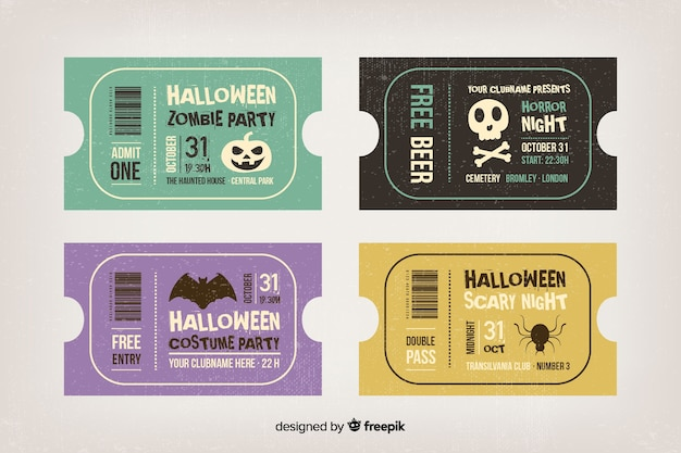 Billets d'halloween vintage pour marathon de films Vecteur gratuit