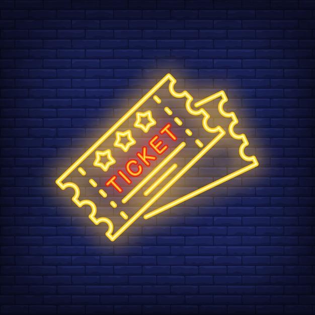 Billets icône néon Vecteur gratuit