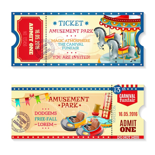 Billets d'invitation à carnival in amusement park Vecteur gratuit