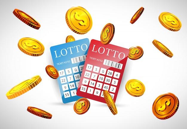 Billets de loterie et pièces d'or volantes. publicité d'entreprise de jeu Vecteur gratuit