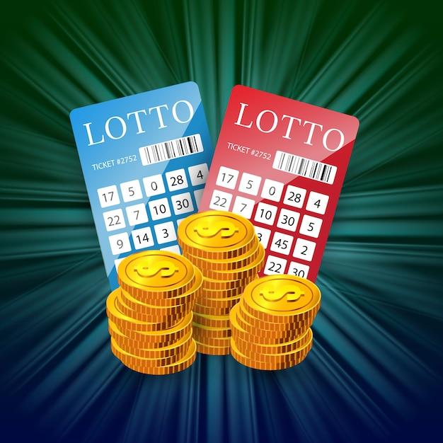 Billets de loterie et piles de pièces d'or. publicité d'entreprise de jeu Vecteur gratuit