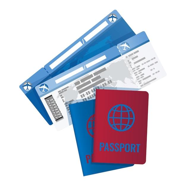 Billets et passeport pour voyager à l'étranger. Vecteur Premium