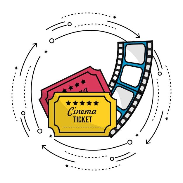 Billets avec pellicule à la scène du court métrage Vecteur Premium