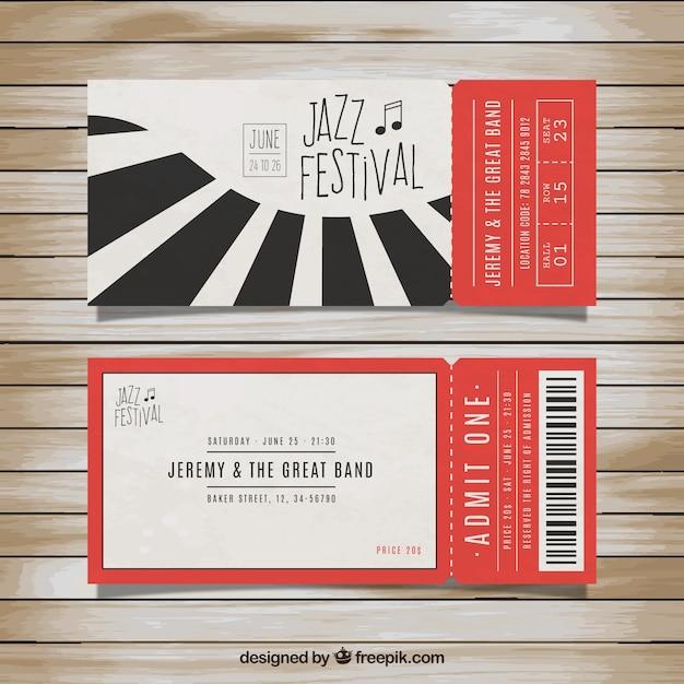 Les billets pour le festival de jazz Vecteur gratuit