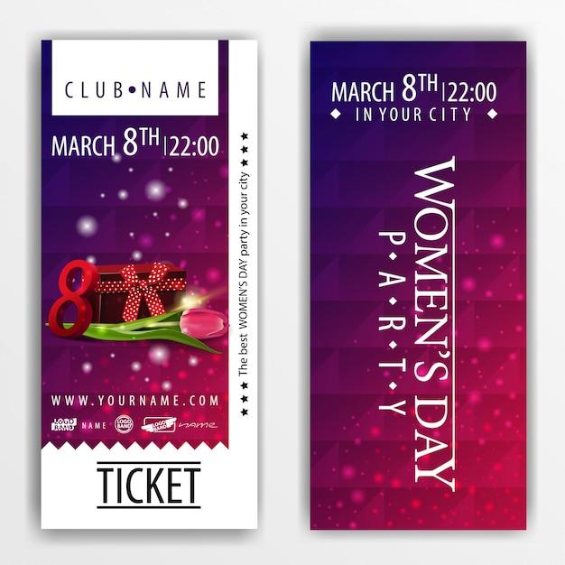 Les billets pour la fête de la fête de la femme avec cadeau et tulipe Vecteur Premium