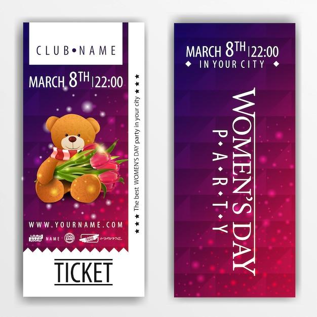 Les billets pour la fête de la fête de la femme avec l'ours en peluche Vecteur Premium