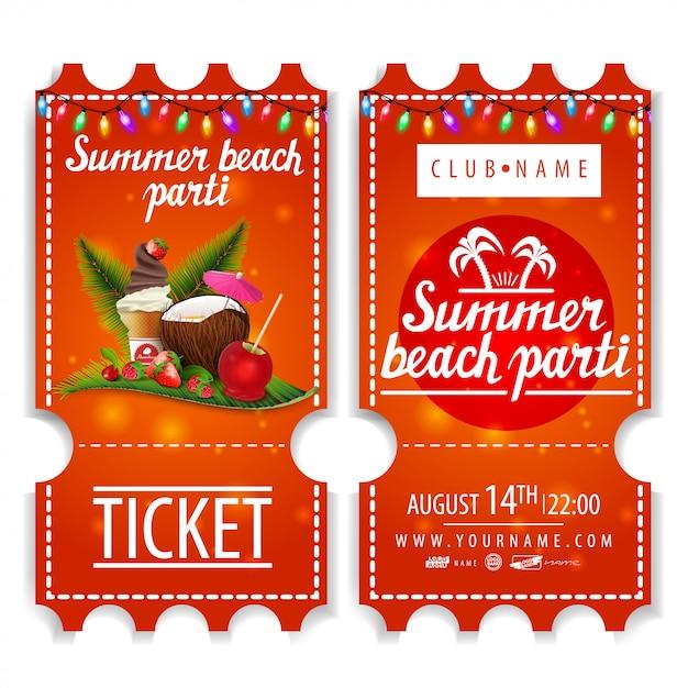 Billets pour la fête de plage d'été Vecteur Premium