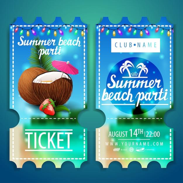 Billets pour une fête sur la plage avec un magnifique paysage d'été Vecteur Premium