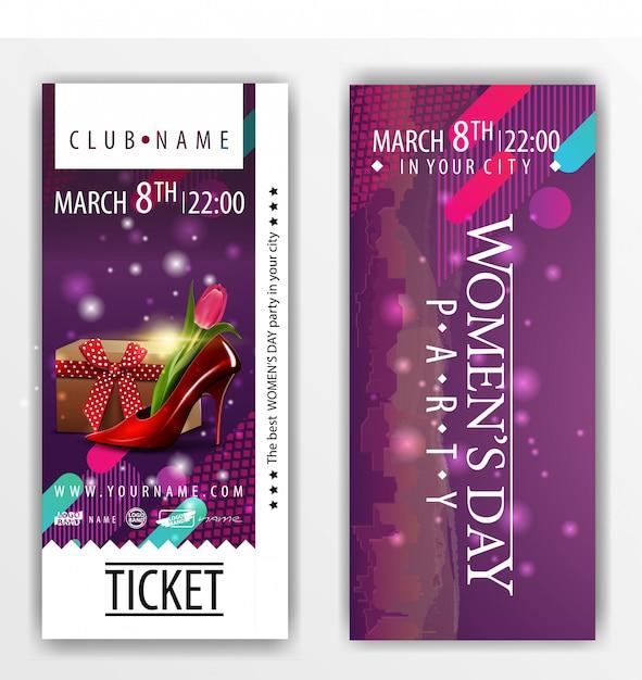 Les billets pour la soirée à la fête de la femme avec chaussure pour femme Vecteur Premium