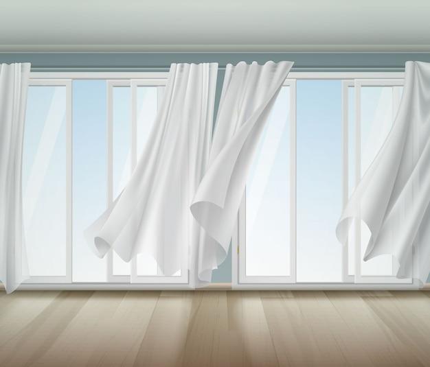 Billowing curtains open window illustration Vecteur gratuit