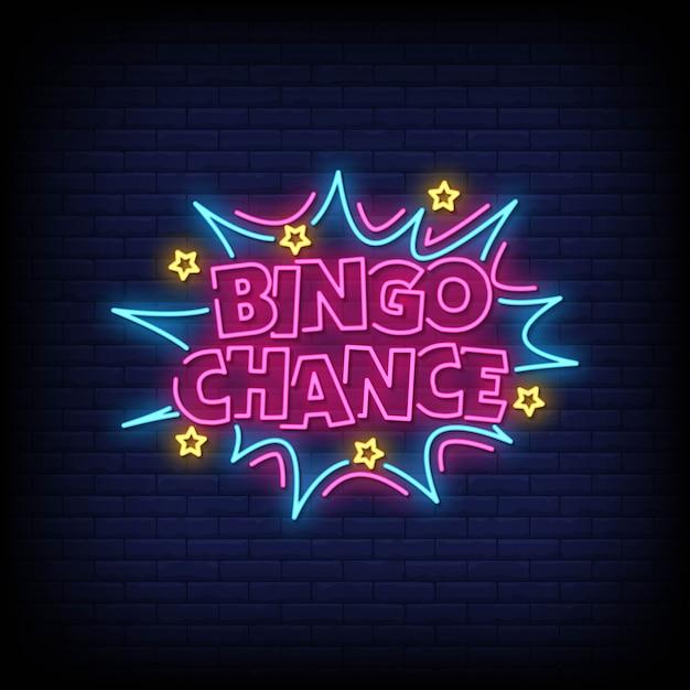 Bingo Chance Néon Style Texte Vecteur Premium