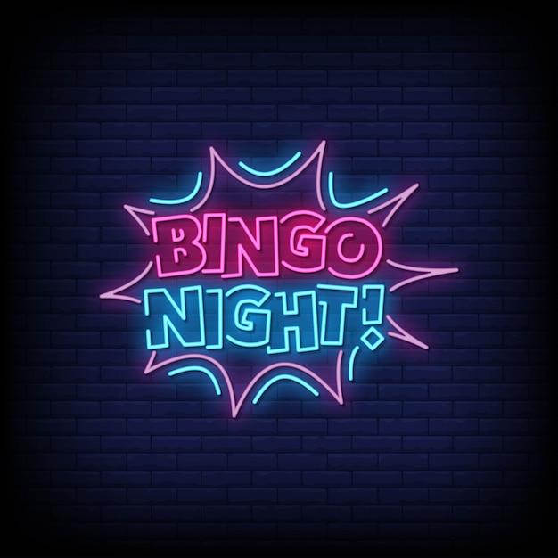 Bingo Night Neon Signs Style Texte Vecteur Premium