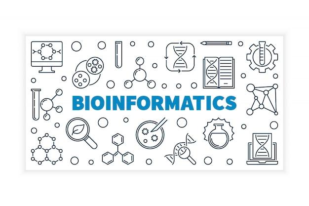 Bioinformatique vectorielle illustration de concept ou de bannière dans le style de ligne fine sur fond blanc Vecteur Premium