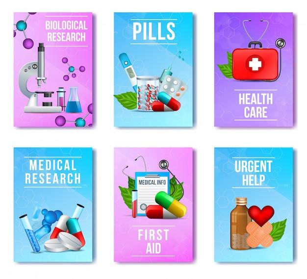 Biologie, recherche médicale, pilules, trousse de premiers soins Vecteur Premium