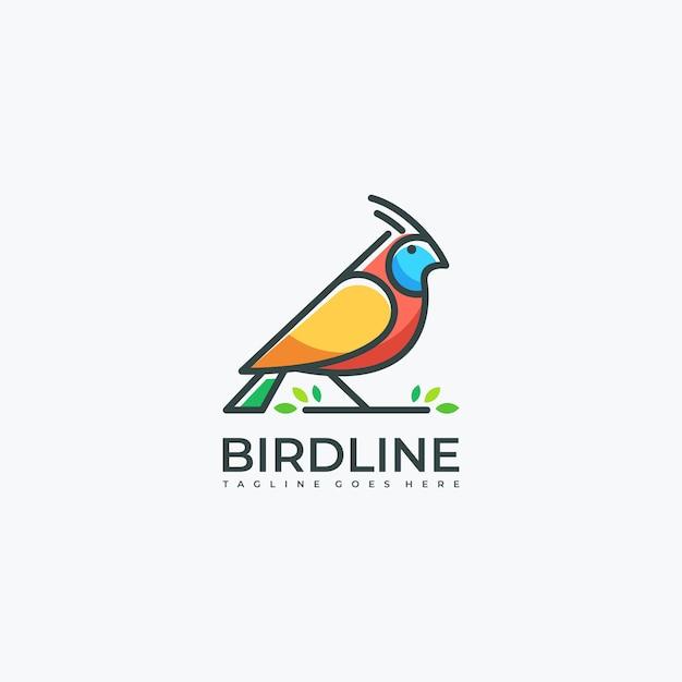 Bird line art leaf Vecteur Premium