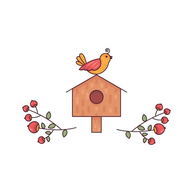 Birdhouse Avec De Belles Branches Ligne Plate Mignonne Vecteur Premium
