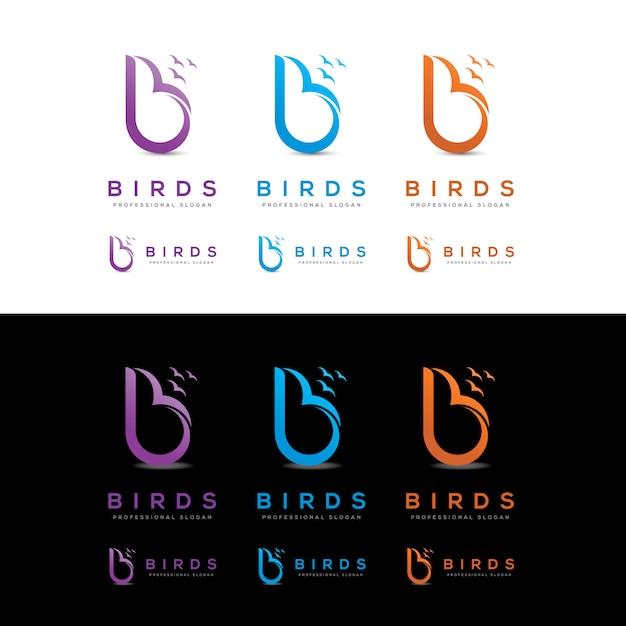 Birds-b-letter-logo Vecteur Premium