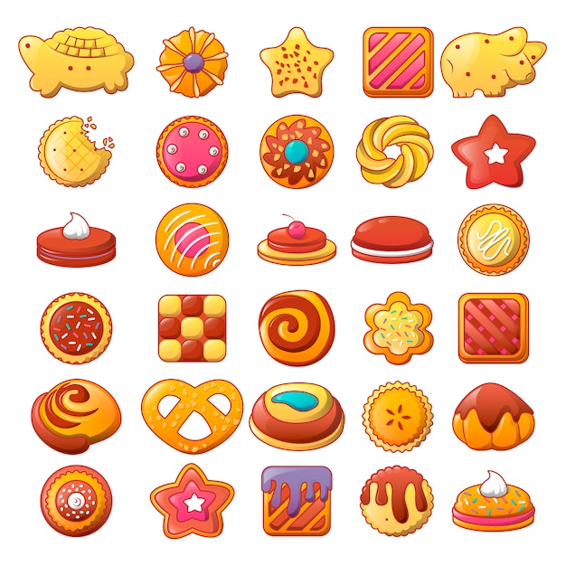 Biscuit cookies icons set Vecteur Premium