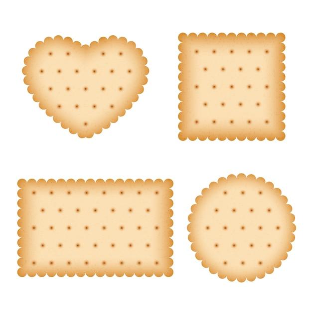 Biscuit de dessin animé, manger des pâtisseries, set de vecteur de biscuits petit déjeuner Vecteur Premium