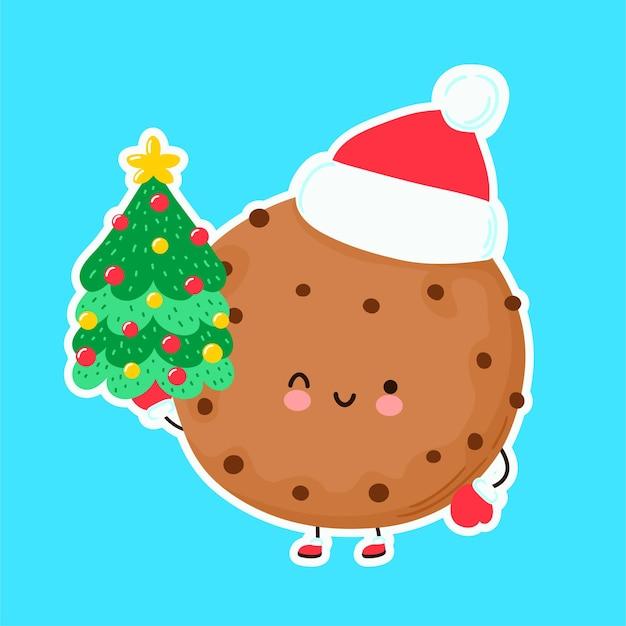 Biscuit De Noël Drôle Heureux Mignon Vecteur Premium