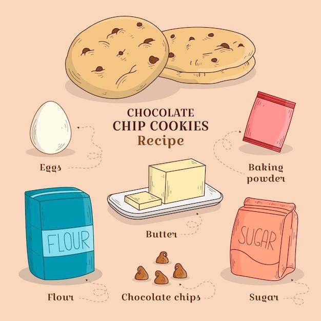 Biscuits Aux Pépites De Chocolat Recette Dessinés à La Main Vecteur gratuit