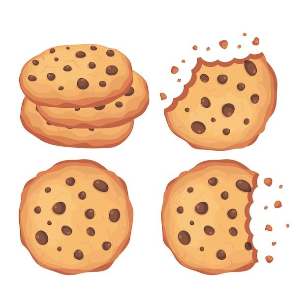 Biscuits Aux Pépites De Chocolat Vector Illustration Set Vecteur Premium