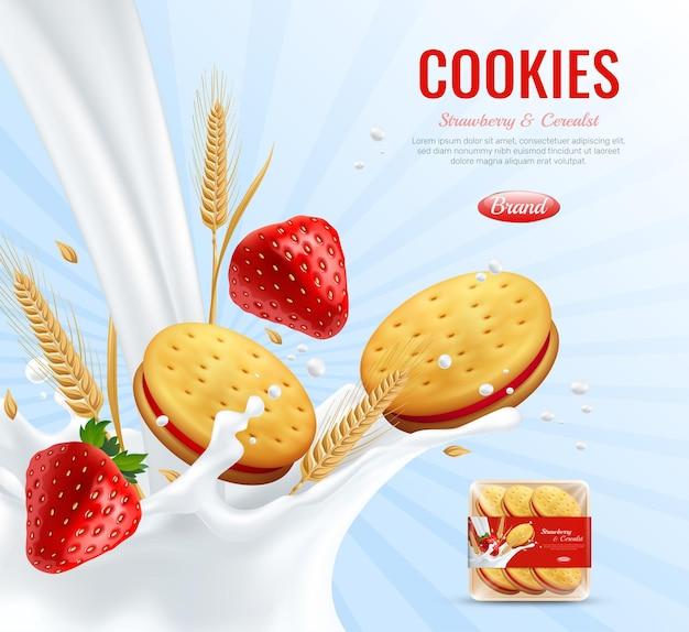 Biscuits Avec Composition Publicitaire De Couche De Confiture De Fraise Décorée Par Des épis De Blé Et Un Spray Crémeux Réaliste Vecteur gratuit