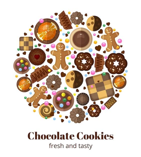 Biscuits De Noël Au Chocolat En Forme Ronde Vecteur gratuit