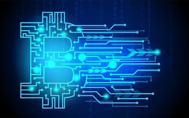Bitcoin argent numérique, système de crypto-monnaie et pool d'exploitation Vecteur Premium