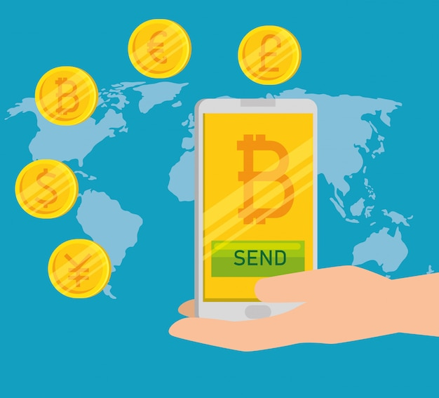 Bitcoin dans le smartphone Vecteur gratuit