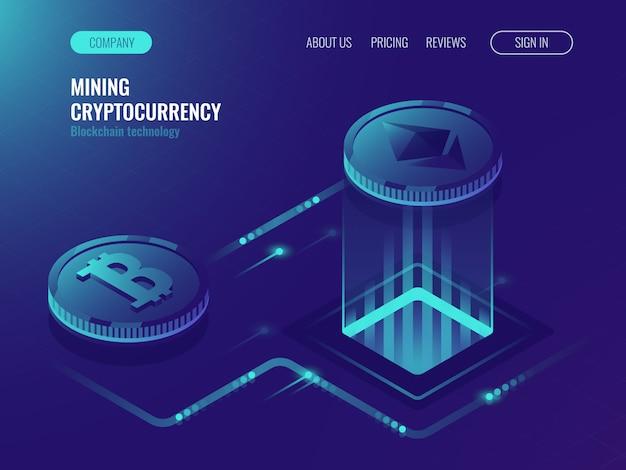 Bitcoin et ethereum crypto monnaies, salle de serveurs miniers Vecteur gratuit