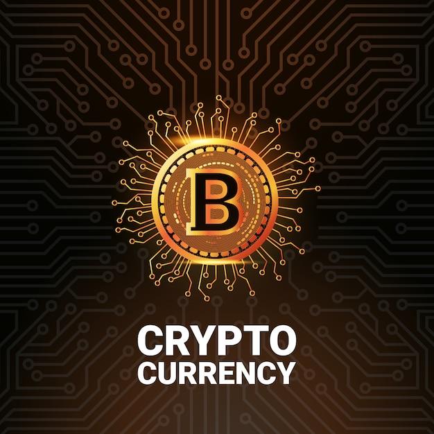 Bitcoin golden logo Vecteur Premium