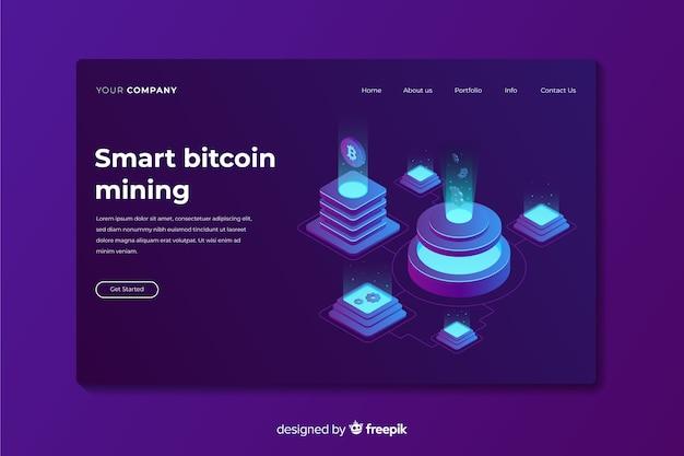 Bitcoin landing page Vecteur gratuit