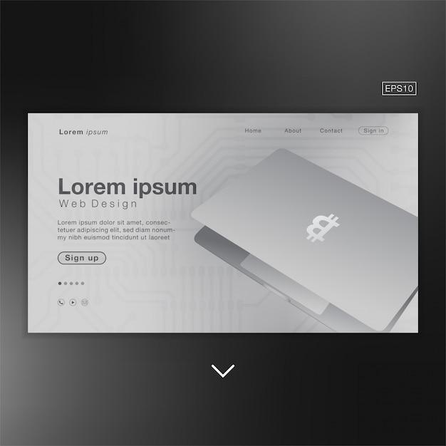 Bitcoin Laptop Abstract Pour La Page D'accueil Vecteur Premium