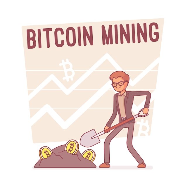 Bitcoin mining, illustration au trait Vecteur Premium