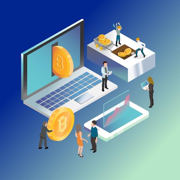 Bitcoin monnaie crypto numérique Vecteur Premium