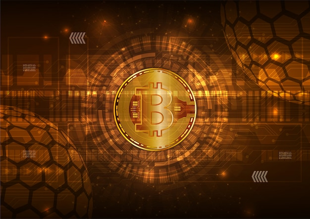 Bitcoin monnaie numérique avec un vecteur abstrait de circuit Vecteur Premium