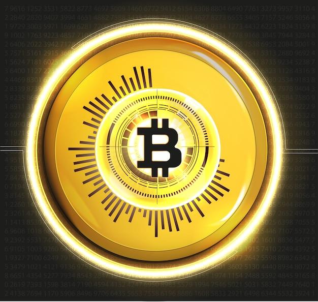 Bitcoin Monnaie D'or Numérique, Argent Numérique Futuriste, Concept De Réseau Mondial De Technologie, Style Hud, Illustration Vecteur Premium