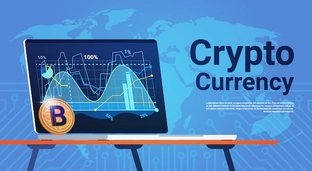 Bitcoin sur ordinateur portable sur la carte du monde digital web money concept crypto monnaie Vecteur Premium